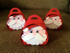 2015 Santa curvy boxes Created by Diane Beaudoin‎ using the Curvy Keepsake Box Thinlits Dies 135853 $33.00, for the hat tree punch and word window punch.