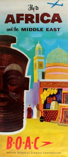 Africa and Middle East by BOAC, 1960s - original vintage poster listed on AntikBar.co.uk