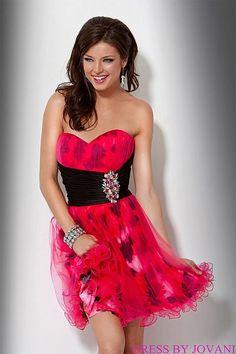 Jovani Beyond Fuchsia Print Short Prom Party Dress B425 image