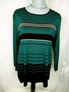 EXCLUSIVELY MISOOK L Top Teal Green Black Tan Tunic Acrylic Knit Shirt Large #Misook #KnitTop #Career