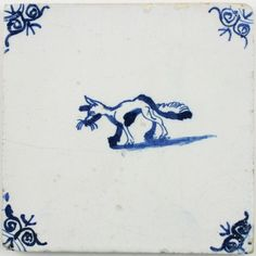 Antique Dutch Delft tile in blue with a fox, 17th century