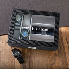 Buy Personalized Men's Watch and Sunglasses Box. Gifts & Baskets - Personalized Men's Watch and Sunglasses Box. Personalized Men's Watch and Sunglasses BoxDETAILS: This sturdy black watch and sunglasses box has the look of carbon fiber. Watch Cases For Men, Mens Watch Box, Leather Watch Box, Mens Watches Leather, Watches For Men, Casual Watches, Men's Watches, Mens Watch Holder, Popular Watches
