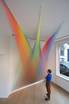 Unique like rainbow textile art in white interior installation installation art installation Art Sculpture, Sculptures, Arte Linear, Instalation Art, Mexican Artists, Thread Art, Embroidery Thread, Wow Art, Oeuvre D'art