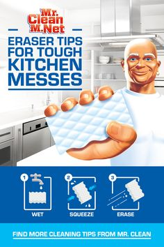 Clean Magic Eraser is here to get rid of kitchen grime. From sinks and surfaces to oven doors, it cuts through grease and gets the job done. Tap the Pin and trust Mr. Clean Magic Eraser with your tough cleaning jobs and messes. Diy Home Cleaning, Cleaning Hacks, Kitchen Cleaning, Cleaning Recipes, Cleaning Solutions, Cleaning Supplies, Rustic Bathroom Lighting, Mr Clean, Kitchen Organisation