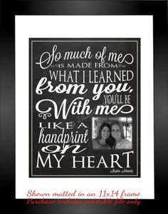 """Wicked Quote - Handprint on My Heart """"For Good"""" Personalized Printable Farewell Graduation Moving Friendship Friend Gift Wall Art Nanny"""