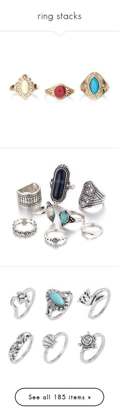 """""""ring stacks"""" by jennifertrimble ❤ liked on Polyvore featuring jewelry, rings, accessories, multicolor jewelry, multi color rings, tri color ring, bohemian jewelry, boho jewelry, crystal rings and vintage rings"""