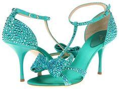 Giuseppe Zanotti E30059 Rhinestone T-Strap Bow Sandals in turquoise