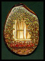'B' - Pyrography and acrylic. This tagua piece was adapted from a photo I once took of a lovely bread and breakfast window. (Inspiration can come from anywhere!:)) Actual size - Sold