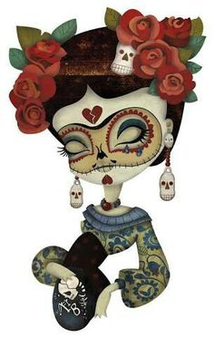 artist Elena Catalan, Dia de los muertos, day of the Dead, sugar skull, frida kahlo Costume Catrina, Hispanic Art, Frida Art, Day Of The Dead Art, Sugar Skull Art, Sugar Skulls, After Life, Mexican Folk Art, Art Pictures