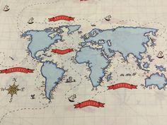 Map fabric world map half meter half yard upholstery fabric out to sea world map fabric by the panel nautical gumiabroncs Gallery