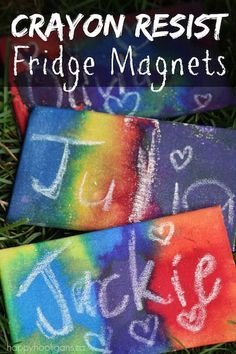 Awesome HOMEMADE FRIDGE MAGNETS for kids to make!  These magnets were so fun to make, using a paint technique called Crayon Resist.  It's a super-easy process that's fun and fascinating for children of all ages.  Great homemade gift idea for kids to give to parents, grandparents and friends! - Happy Hooligans.