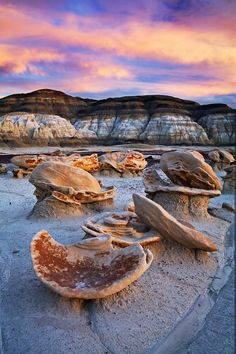 "Sunset on the ""Egg Garden"". Bisti Wilderness in northwest New Mexico."