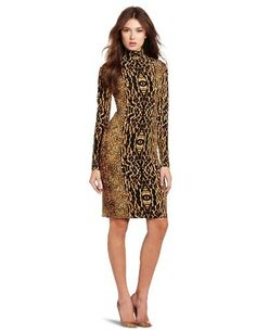 Reviews KAMALIKULTURE Women's Turtleneck Dress, Mixed Animal, Large