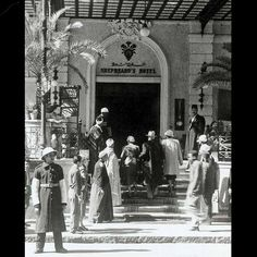 The entrance to Cairo's Shepheard's Hotel, one of Egypt's most famous hotels in the early 20th century.