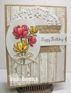 It's a Stamp Thing: Paper Players.Bloom with Hope. Birthday Cards, Happy Birthday, Birthday Images, Paper Cards, Flower Cards, Creative Cards, Greeting Cards Handmade, Scrapbook Cards, Homemade Cards
