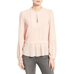 Women's Chelsea28 Ruffle Blouse ($69) ❤ liked on Polyvore featuring tops, blouses, pink hero, pink top, ruffle top, tie blouse, chiffon ruffle blouse and flutter-sleeve top