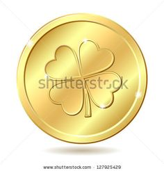 Golden coin with four leaf clover. St. Patrick's day symbol. Vector illustration by tassel78, via ShutterStock