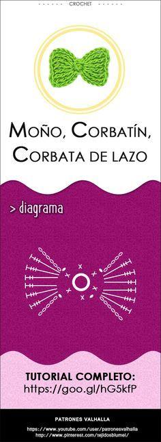 Corbata de Moño a Crochet   PATRONES VALHALLA // Patrones gratis de ganchillo