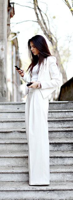 Classic Fashion Style in Black and White - white pantsuit