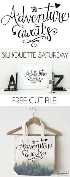 Silhouette Saturday: Adventure Awaits Hand-Lettered Cut File | dawnnicoledesigns.com