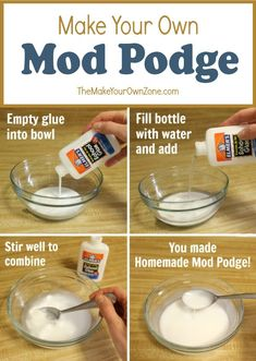 An easy homemade Mod Podge recipe that you can make with a simple mix of white craft glue and water. Diy Home Crafts, Diy Arts And Crafts, Creative Crafts, Crafts To Make, Crafts For Kids, Homemade Crafts, Kids Diy, Diy Mod Podge, Mod Podge Crafts