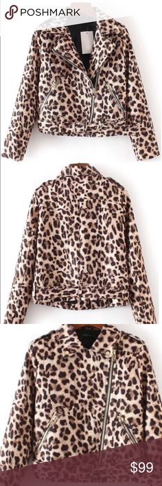Leopard print Moto jacket Leopard print Moto jacket. Asymetric zipper accent. 100% polyester. Fabric has no stretch. New without tags. Never worn. Ships within 7 business days. FoxandLace Jackets & Coats