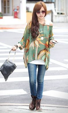 Wholesale Scoop Neck Feather Print Chiffon Bohemian Style Color Block T-Shirt For Women