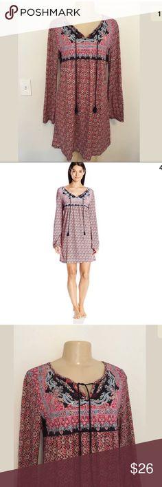 Tassel Brand la Lucky es recortado floral borla Túnica Bandana Vestido Trim Boho Esta M Rvv5wqd