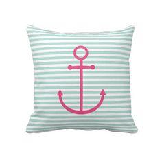 Mint & Hot Pink Nautical Stripes & Cute Anchor Throw Pillows