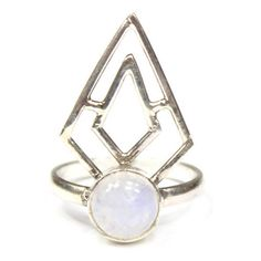 Large Sterling Silver Boho Triangle Moonstone Ring by Amelia May ($41) ❤ liked on Polyvore featuring jewelry, rings, custom, bohemian rings, boho gypsy jewelry, gypsy ring, sterling silver jewellery and moonstone ring
