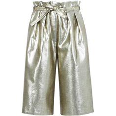 BCBGMAXAZRIA Runway Maz Short ($228) ❤ liked on Polyvore featuring shorts, shiny shorts, metallic shorts, stretchy shorts, woven shorts and stretch shorts