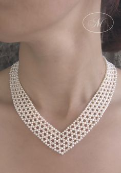 Gorgeous V Neck Woven Seed Pearl Necklace - Marina J Jewelry