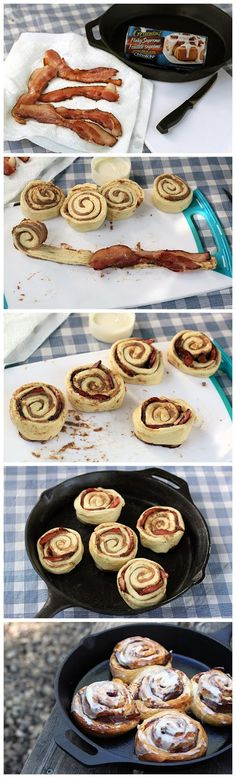Bacon Stuffed Cinnamon Buns in a Skillet