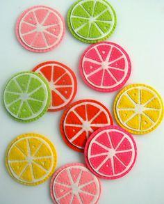 posavasos de fieltro inspirados en frutas citricas...