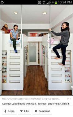 Closet Under Loft Bed | Bunk beds with closets underneath!