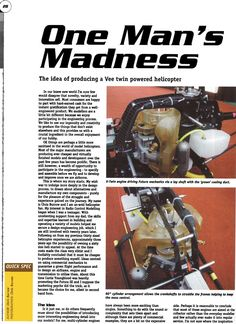 Cowling Radio Controlled Helicopter that made its maiden flight in April 2001 gets a mention in Model Helicopter World Mag. Chris Burrow from Ashley Rock Radio Control, 3d Printing, Engineering, It Is Finished, Museum, Rock, World, Model, Impression 3d