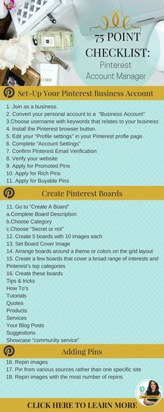 75 point checklist for mastering Pinterest marketing to drive traffic and sales. https://www.whiteglovesocialmedia.com/social-media-marketing-for-your-business-75-point-checklist/