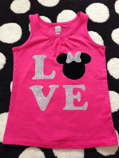 Disney shirt idea! Love with Minnie or Mickey head! Used my silhouette cameo to cut it out on Tulip glitter iron-on transfer sheets.  Original pin by japayne22  Check out the etsy shop:  https://www.etsy.com/shop/BananaBelle23?ref=l2-shopheader-name