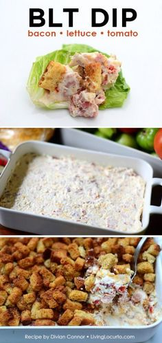 BLT Appetizer - Bacon Lettuce Tomato Dip Recipe ~ sun-dried tomato, cream cheese, ranch, shredded mozzarella cheese, lettuce and bacon..