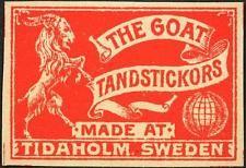 Vintage Matchbox Label - The Goat - Tandstickor - Sweden Vintage tändstickor etikett - geten - tändstickor - Sverige