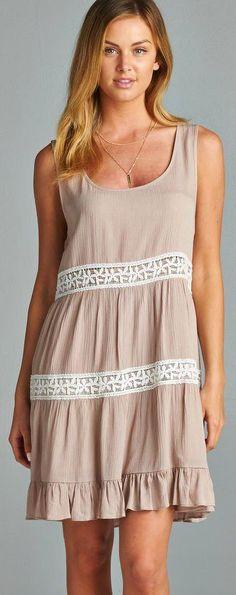 Tan and White Sleeveless Dress