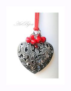 Heart Pendant, Heart Necklace, Red Necklace, Bell Heart, Long Necklace, Modern Necklace, Big Heart Necklace, Women Gift, Gift Her, Gift Idea