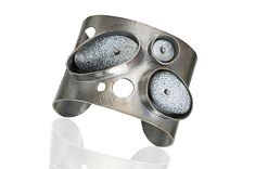 Black and White Cuff by Beth Novak: Enameled Bracelet available at…