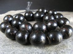 "19 Antique BLACK CORAL beads from a ""tasbih"". Hard to find. YEMEN"