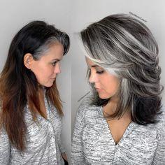 Medium Brunette Hair, Medium Brown Hair, Medium Cut, Grey Hair Transformation, Medium Length Hair Cuts With Layers, Gray Hair Highlights, Natural Wavy Hair, Dull Hair, Hair Inspiration
