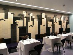Sheep wall tiles.    Architetto Pierluigi Piu | Olivocarne Restaurant on http://www.arthitectural.com