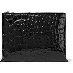 Miu Miu Alligator-effect glossed faux leather clutch ($535) ❤ liked on Polyvore featuring bags, handbags, clutches, black, miu miu, zipper purse, vegan leather handbags, miu miu handbags and vegan handbags