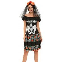 Halloween Ghost Pattern Female Dress Suit with Headband
