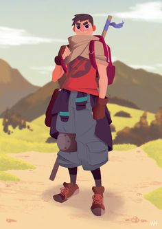 """My entry for """"The Journey"""" challenge here on artstation. Not the first time developing a character, but I don't usually do full detail backgrounds, so I think it's nice."""
