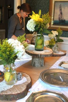 CREATE STUDIO: A Rustic Feminine Wedding Shower  where do I find these perfectly sized pieces of wood?